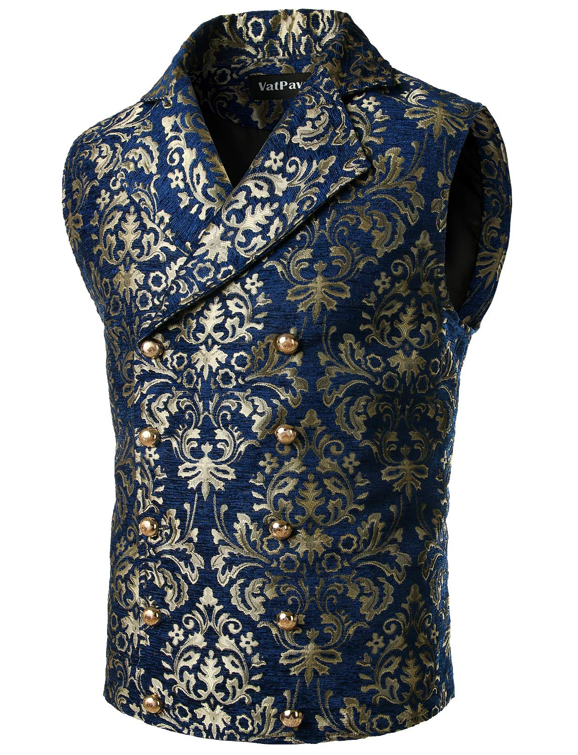 VATPAVE Mens Victorian Double Breasted Vest Gothic Steampunk Waistcoat Large SV16 Navy by VATPAVE