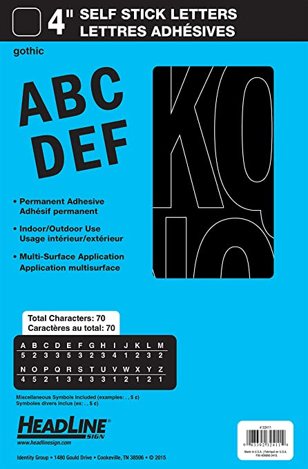 Stick on Vinyl Lettering Self Adhesive 3//4inch NUMBERS ONLY COMBO PACK Numbers