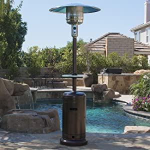 BELLEZE 48000BTU Portable Hammer Finished Propane Patio Heater (Bronze) Space Stove with Wheels & Table for Outdoor
