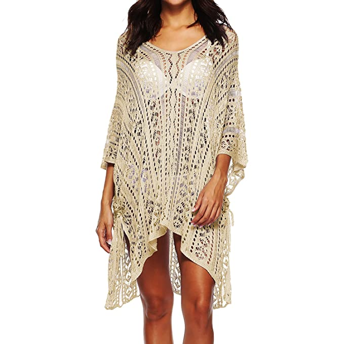 5eac3bb43820 aBellety Swimsuit Cover Up for Women, Crochet Bathing Suit Bikini Swimwear  Cruise Plus Size Dress