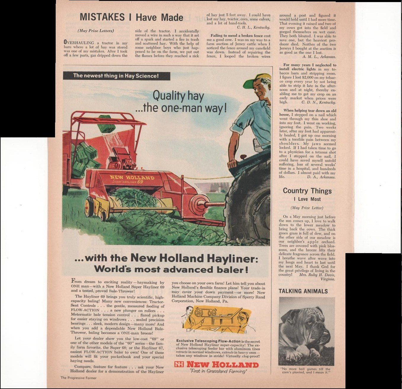 New Holland First In Grassland Farming The Newest Thing Repairing Aluminum Wiring Hay Science Quality Baler 1960 Vintage Antique Advertisement Prints Posters
