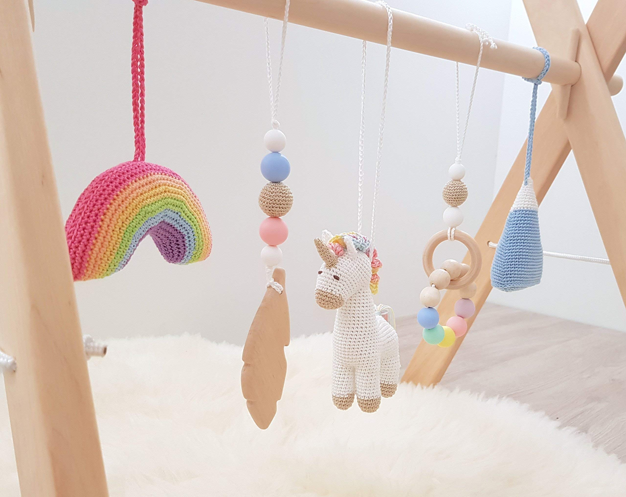Rainbow Unicorn Baby Play Gym with 5 Mobiles: Unicorn, Rainbow, Mountain, Feather, Beaded Ring. Handmade by… 4