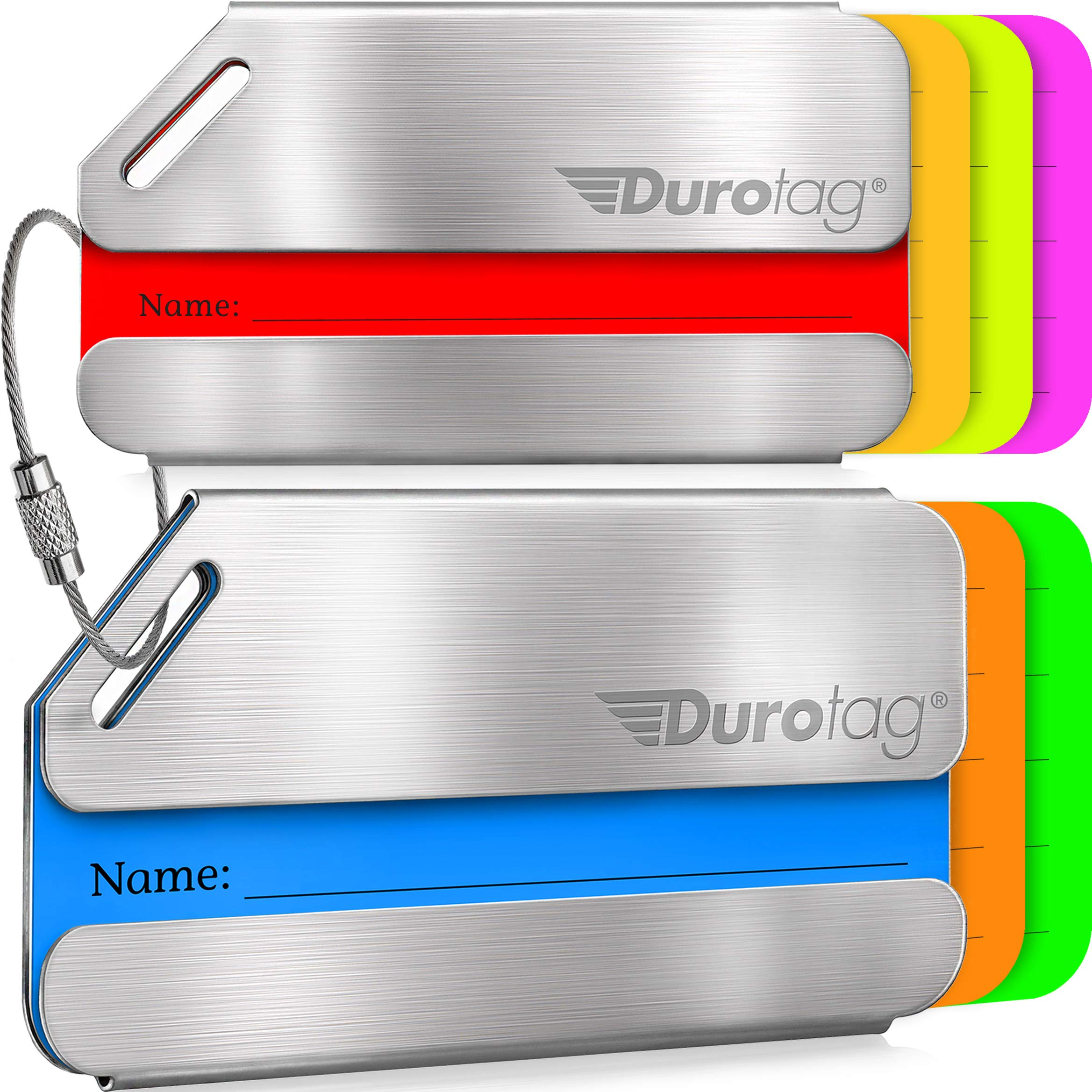 Durotag Luggage Tags Personalized Custom Stainless Steel Travel Bag Tag ID 2 Set by Durotag