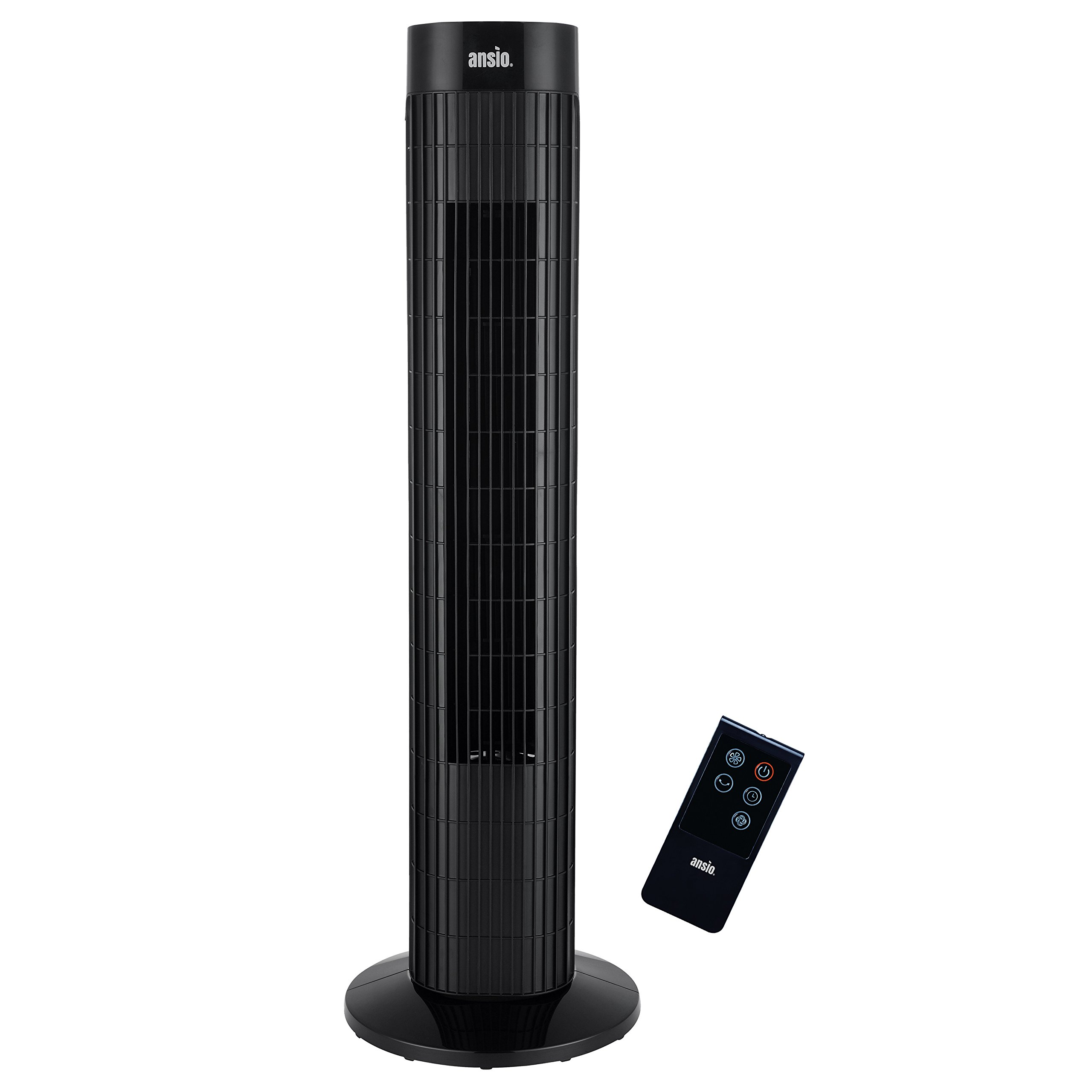 ANSIO Black Oscillating Tower Fan with Remote Control 3-Speed 3-Wind Mode, 30-Inch Ideal for Small Rooms. 2 Year Warranty by ANSIO