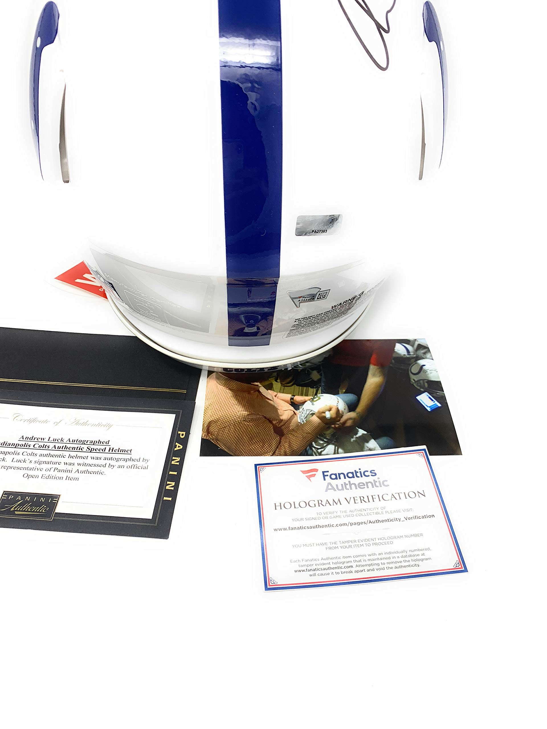 Peyton Manning Andrew Luck Indianapolis Colts Dual Signed Autograph Full Size Speed Authentic Proline Helmet Panini & Fanatics Authentic Certified #1