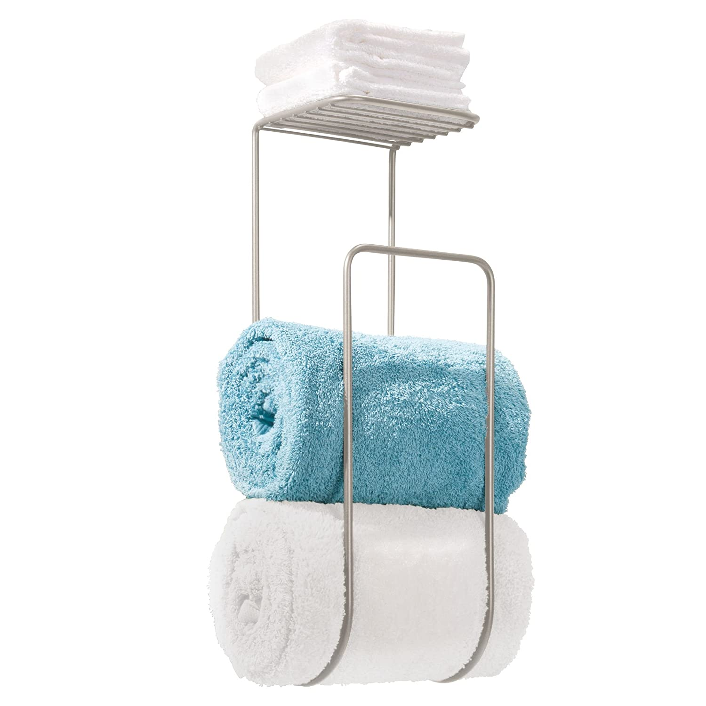 Mdesign towel holder with shelf for bathroom wall mount - Bathroom wall cabinet with towel rack ...