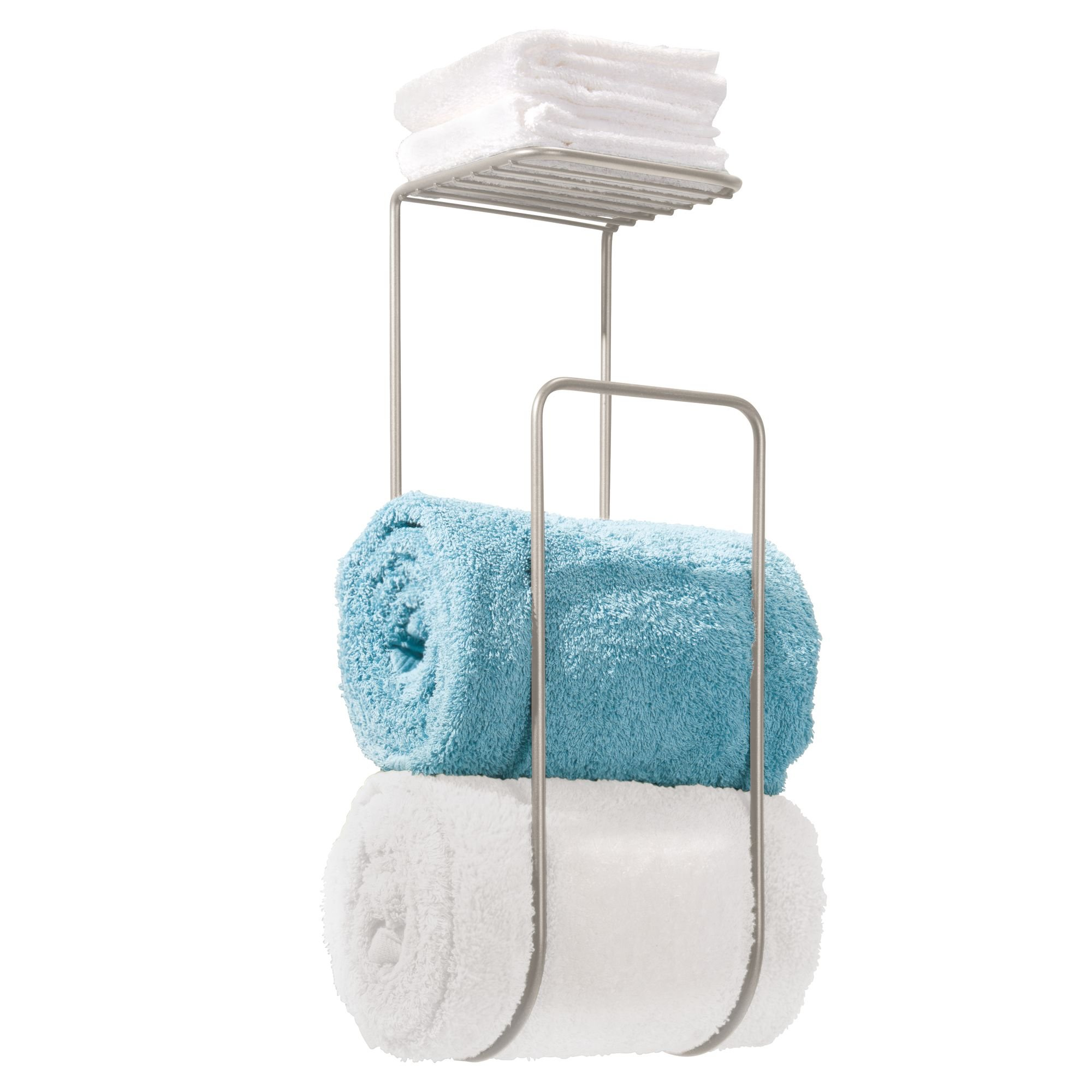NEW Towel Holder Wall Mount Storage Washcloths Rolled With Shelf ...