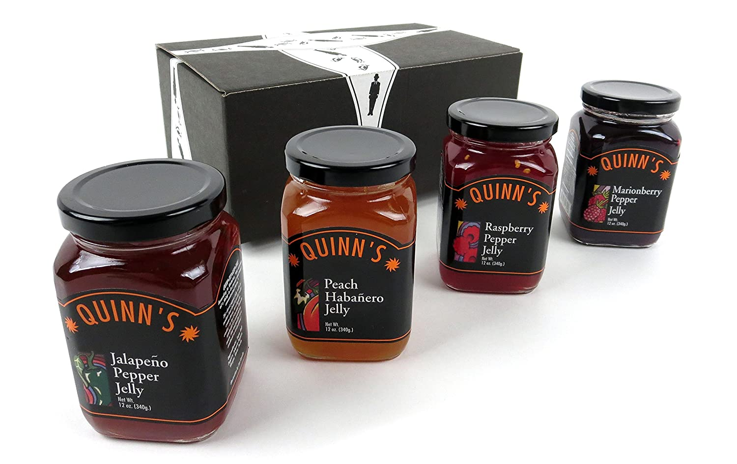 Quinn's Pepper Jelly 4-Flavor Variety: One 12 oz Jar Each of Jalapeño, Peach Habanero, Raspberry, Marionberry in a BlackTie Box (4 Items Total)