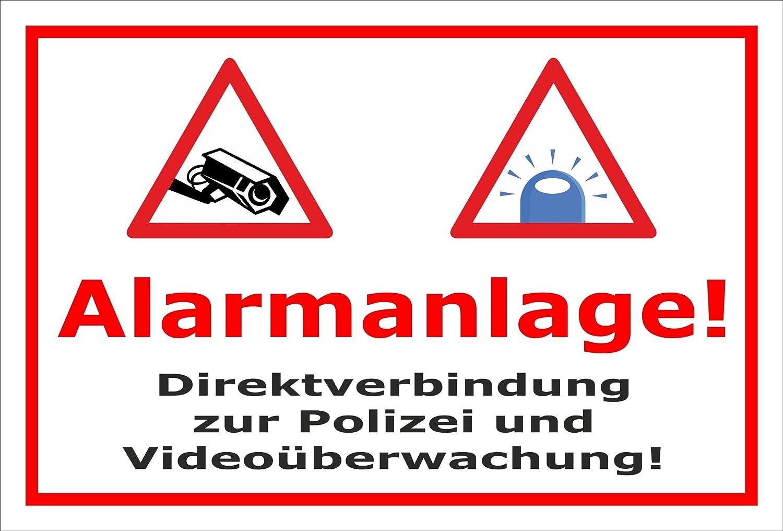 Video-Überwachung Schild - Alarmanlage - Direktverbindung zur Polizei – 60x40cm mit Bohrlöchern | stabile 3mm starke Aluminiumverbundplatte – S00348-005-B – Kamera-Überwachung +++ in 20 Varianten erhältlich