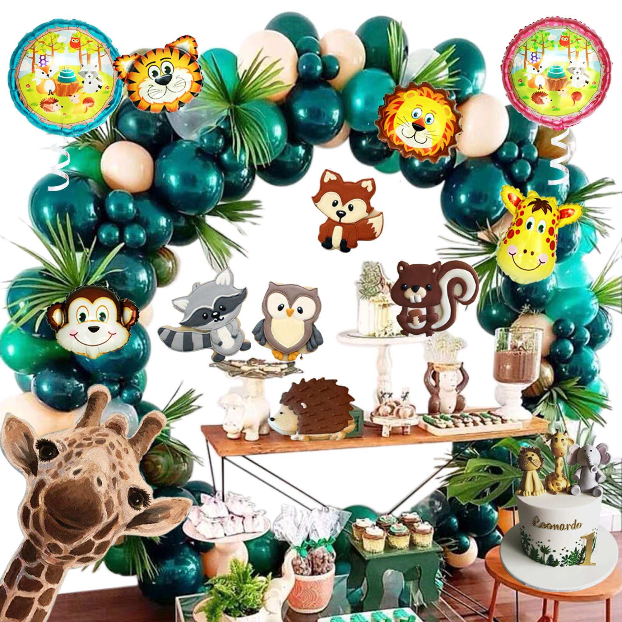 Jungle Safari Baby Shower Theme Party Decoration Green Balloon Garland Arch Kit Green Gold Leaves Dinosaur Birthday Forest Country Wedding