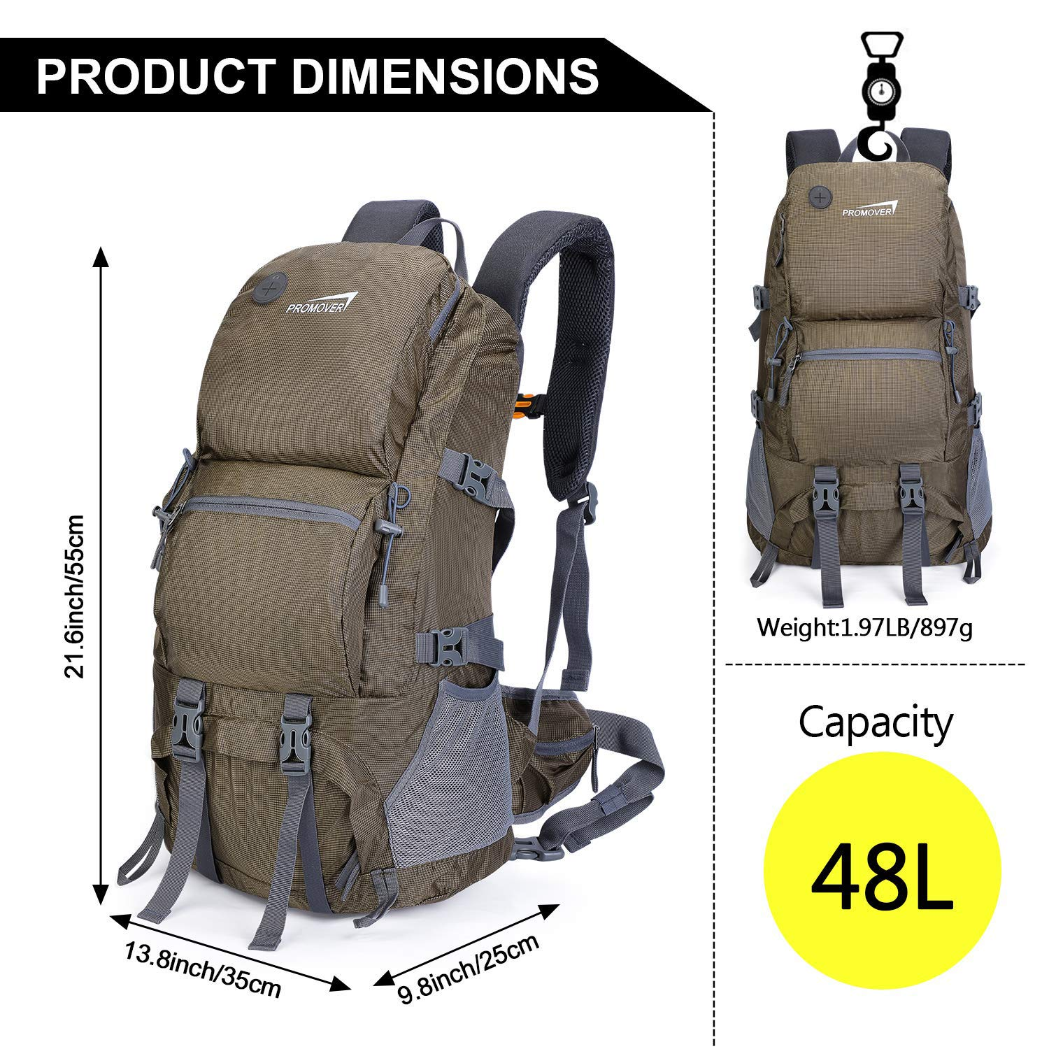 Promover 48L Hiking Backpack Travel Daypack Camping Backpacking Backpacks Trekking Bag Large for Climbing Camping Mountaineering Traveling Cycling