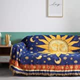 MayNest Sun And Moon Stars Hippie Throw Blanket Celestial Tapestry Double-sided Reversible Woven Cotton Home Decor Bedding Ch