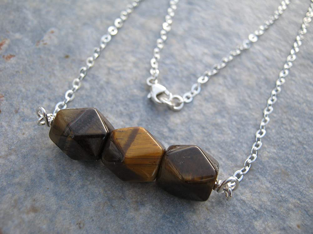 Estate Faceted Graduated Tiger Eye Bead Necklace 18.5 Inches