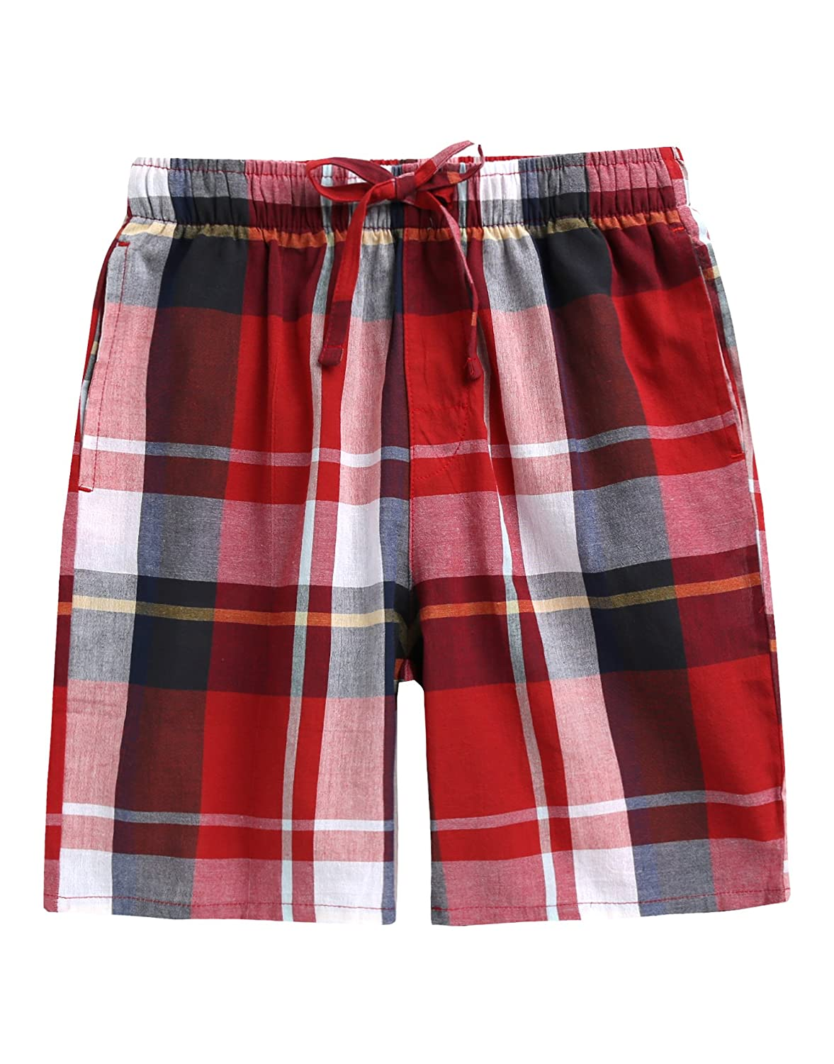 Vaenait baby TINFL 6-14 Years Big Boys PJ Plaid Check Soft Lightweight 100% Cotton Lounge Shorts with Pocket TINFL-BSPs