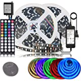 BIHRTC LED Strip Lights IP65 Waterproof 600leds 32.8ft 10M RGB SMD 5050 LED Rope Lighting Color Changing LED Tape with 44 Keys IR Remote Controller UL Power Supply for Home Kitchen Bedroom Decor