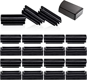 ANCIRS 20 Pack 1/2 x 1-1/2 Rectangle Chair End Caps, Tubing Plug Cap for Furniture Glide Prevention, Plastic Post End Insert for Chair/Desk/Tube Protector-Black