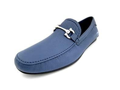 ff830f2878e5d Salvatore Ferragamo Cancun 2 Mens Blue Leather Loafers Shoes Made in Italy  (9 E US