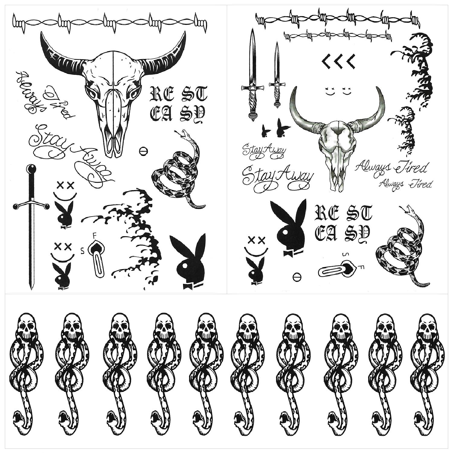 12 Sheets Post Malone Face Tattoos Set, Post Malone Tattoos, Halloween Costume Accessories and Parties for Women and Men, Included 10 Sheets Death Eaters Dark Mark Temporary Tattoos
