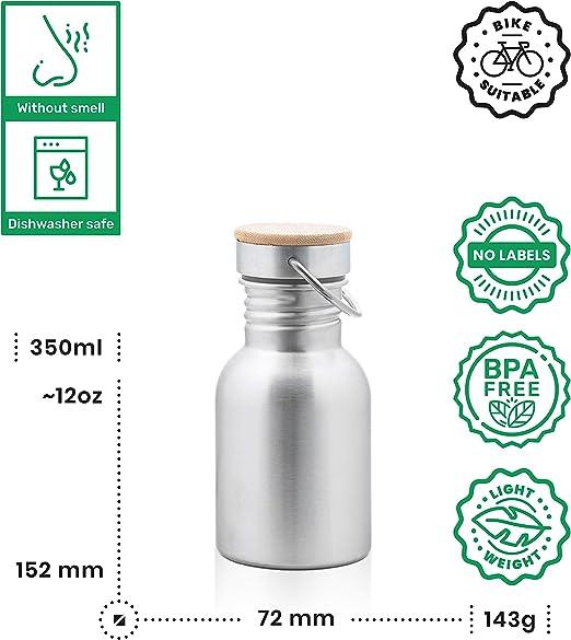 Pure Design - Botella Agua Acero Inoxidable 350 ml para Niños, Sin BPA, Eco Friendly, 110% Garantia