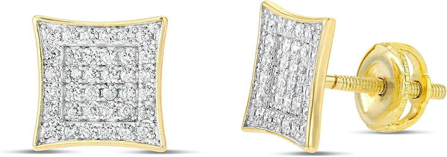 Hip hop Earring Mens Ladies 14K Gold Over Silver Lab Diamond Earrings Screw Back Studs Iced Out aretes para hombre Screw Back Mens Earrings Mens Jewelry