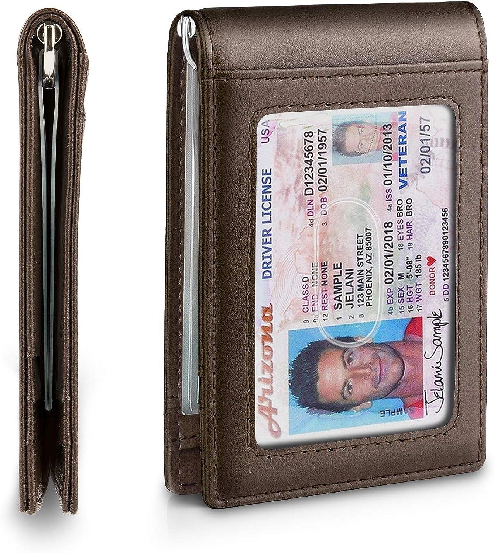 Slim Minimalist Mens Bifold Front Pocket Wallet with Money Clip/&Effective RFID Blocking