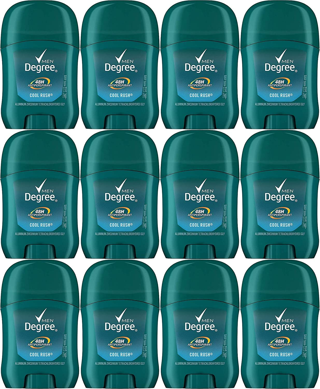 Degree Men Anti-Perspirant, Invisible Stick, Cool Rush, 0.5 Oz / 14 Gr (Pack of 12)