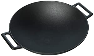 Jim Beam 12'' Pre Seasoned Heavy Duty Construction Cast Iron Grilling Wok