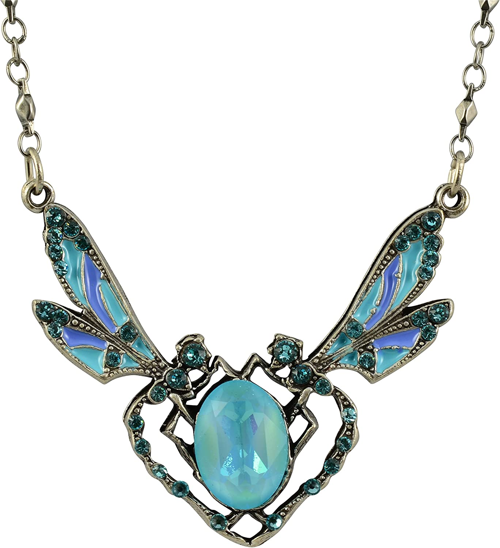 Anne Koplik Round Dragonfly Necklace Silver Plated Pendant 18