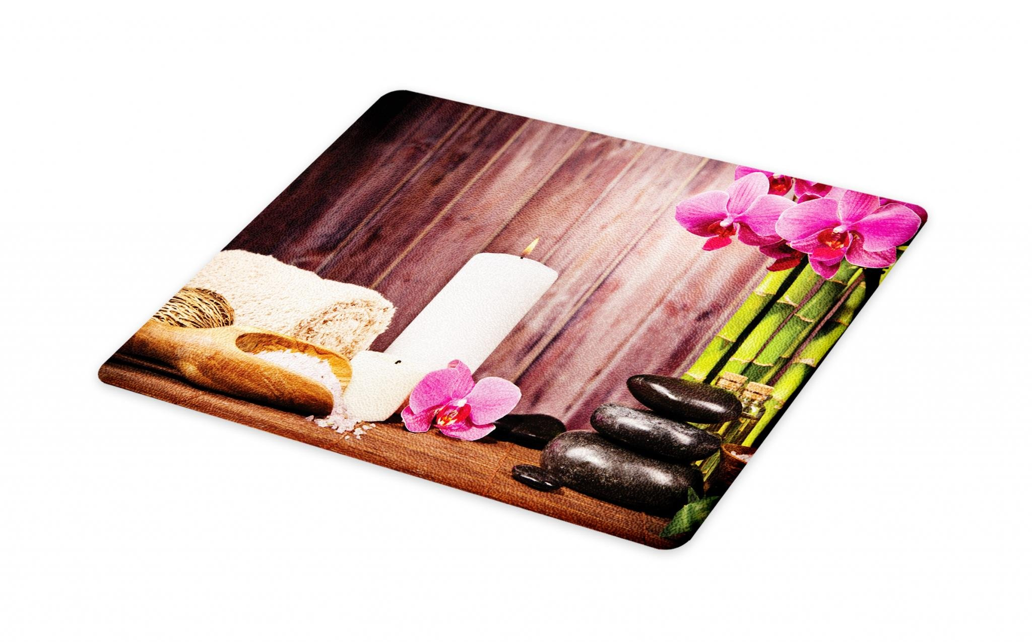 Lunarable Spa Cutting Board, Spa Candlelight Plants Wooden Wall Sea Salt Treatment Freshness Relaxing, Decorative Tempered Glass Cutting and Serving Board, Large Size, Green Pink Umber White