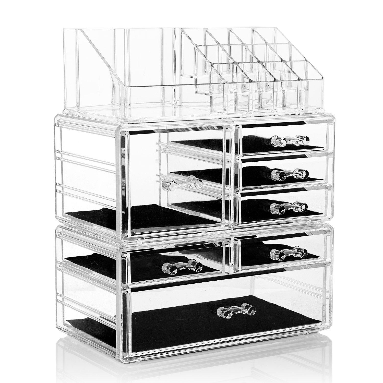 Organizador acrílico de 3 piezas con 7 cajones y 16 compartimentos. Opción de otros diseños.