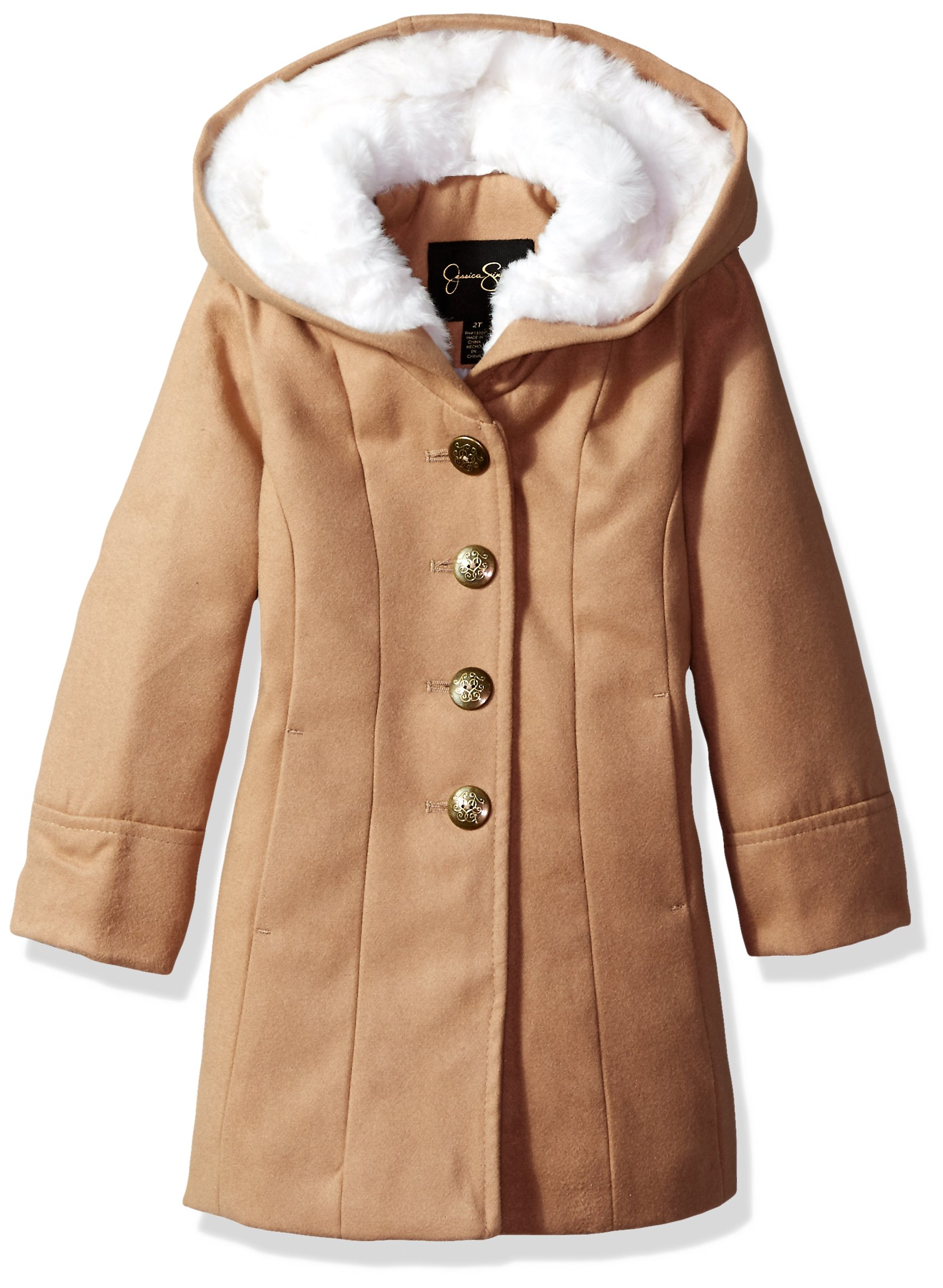 Jessica Simpson Girls' Dress Coat Jacket with Cozy Collar,Camel,6X