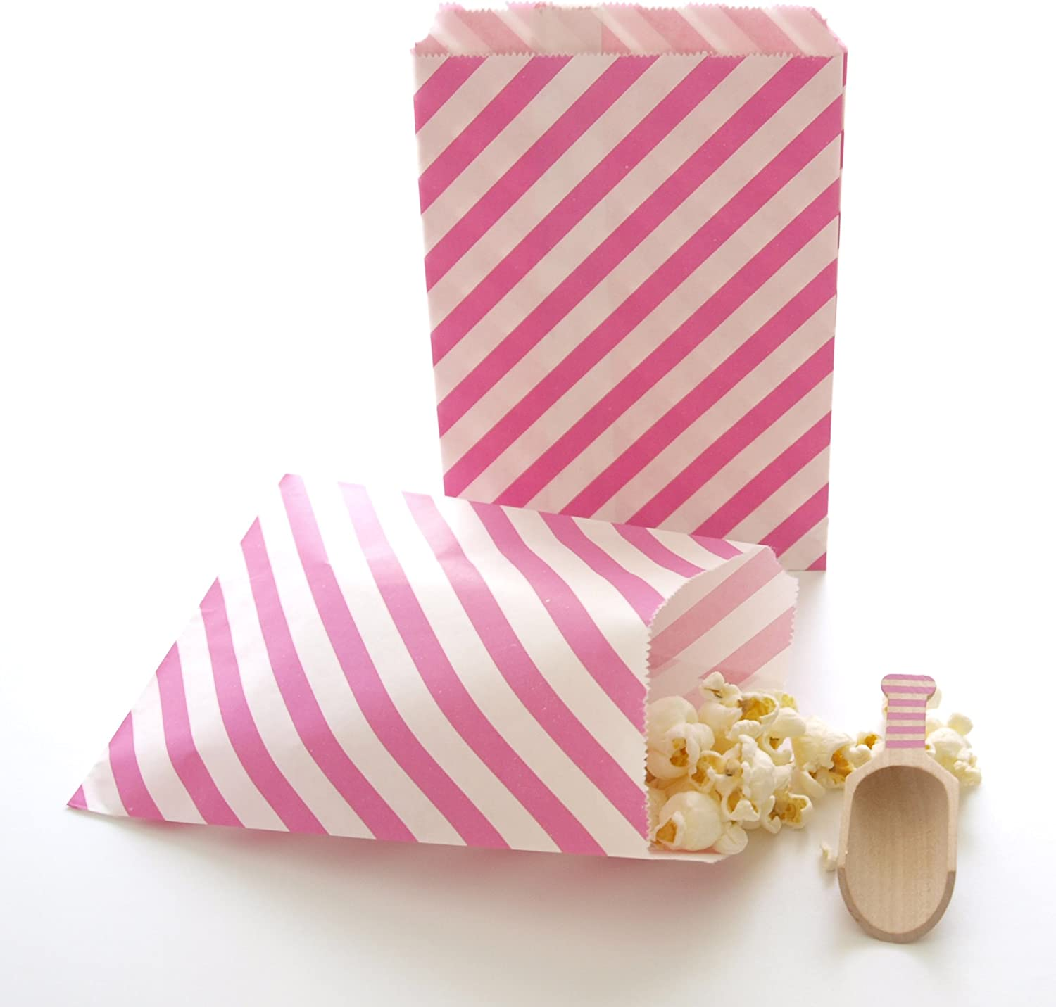 25 Pcs Candy Gift Bag Wedding Party Candy Buffet Paper Bag Sweet Stripe Flower