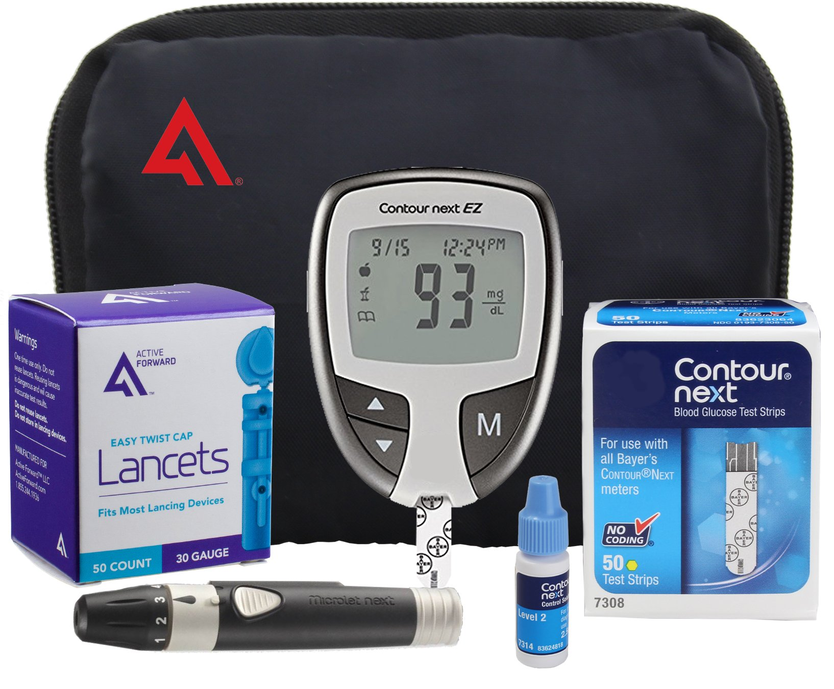 AF Contour NEXT EZ Diabetes Testing Kit | Contour NEXT EZ Blood Glucose Meter, 50 Contour NEXT Blood Glucose Test Strips, 50 Lancets, Lancing Device, Control Solution, Log Book, User Manuals and Pouch by Active Forward