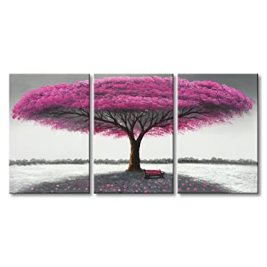 Hand Painted Purple Tree Painting Wall Art Modern Landscape Oil Painting on Canvas for Living Room