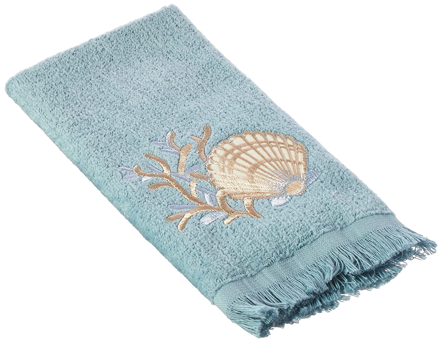 Avanti Linens 019684MIN Sand Shells Finger Towel, Medium, Mineral