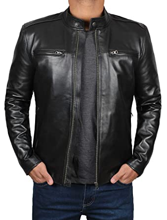 add23df249dc Decrum Motorcycle Jackets for Men - Black Slim Fit Biker Leather ...