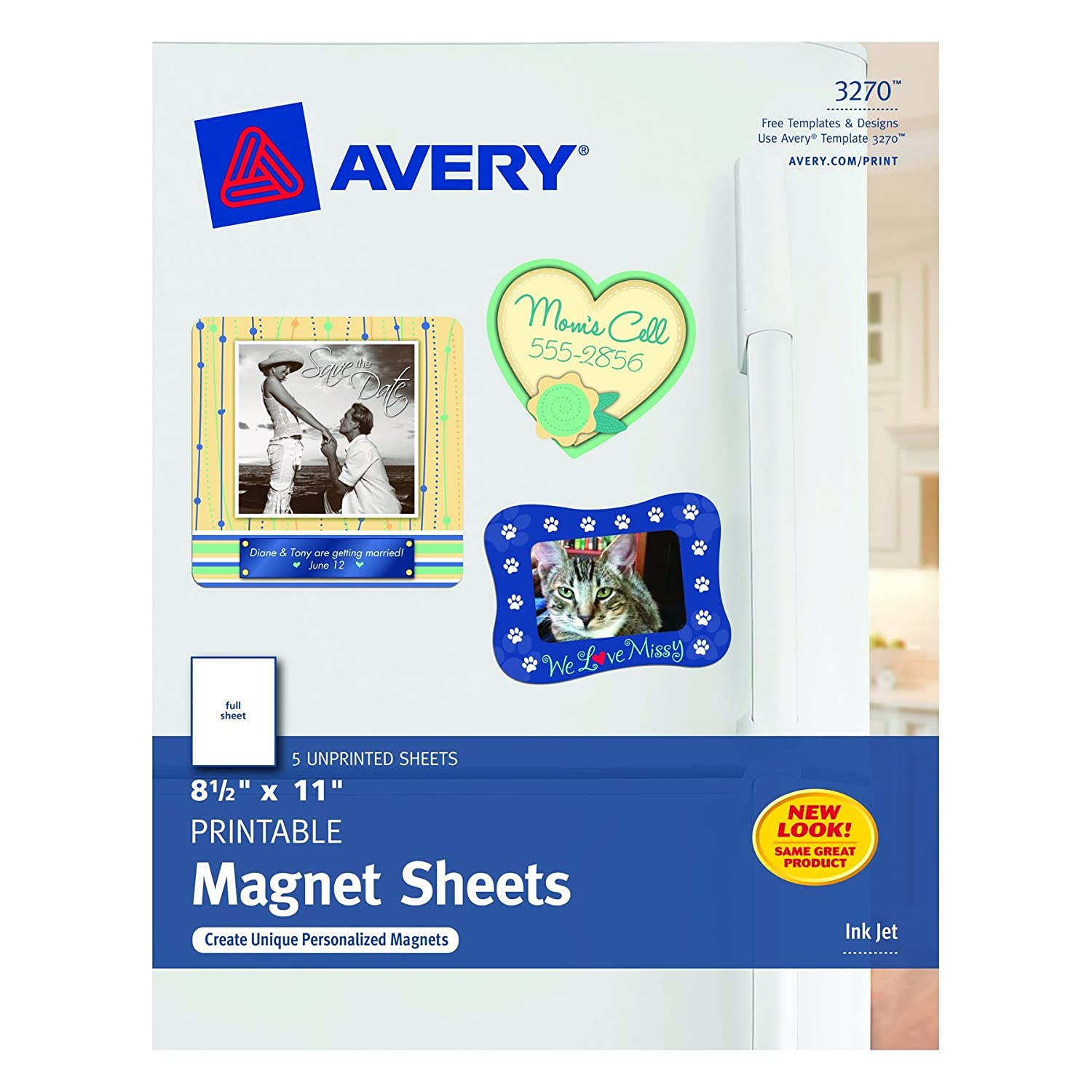 Amazoncom Avery Magnet Sheets X Inches White - Office depot window decals template