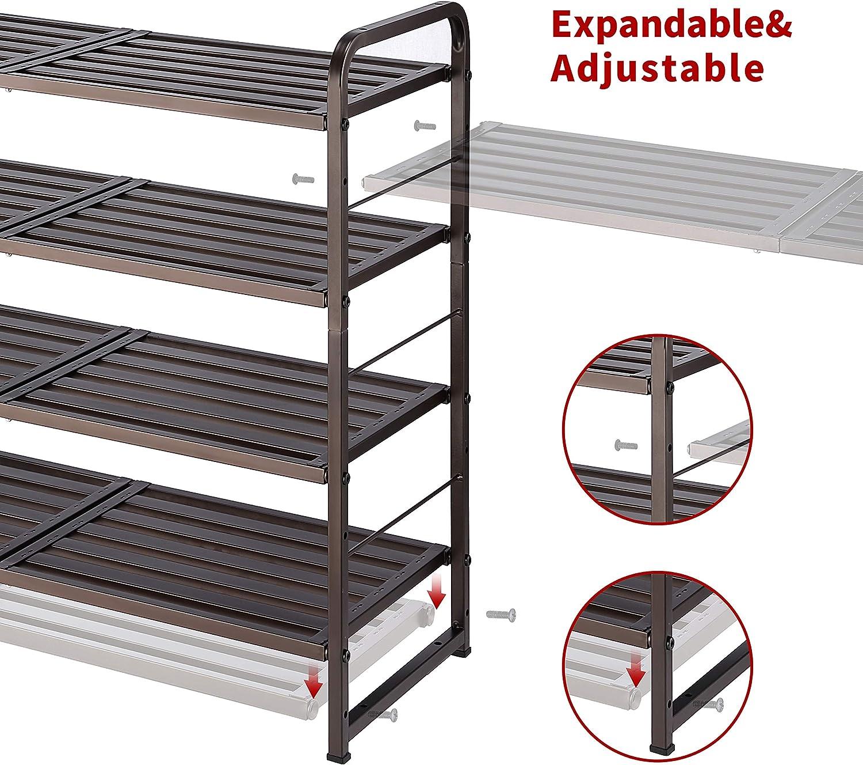 Bronze Expandable /& Adjustable Shoe Shelf Storage Organizer Simple Trending 4-Tier Stackable Shoe Rack