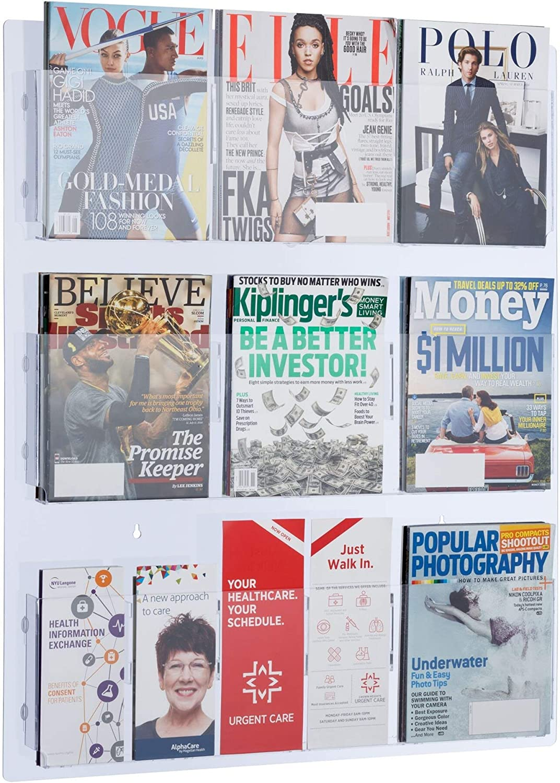 Adir Acrylic Brochure Holder Wall Mount - Adjustable Hanging Magazine Rack Literature & Brochure Holder for Home, Office, Waiting Room Display (29'' x 35'' Clear)