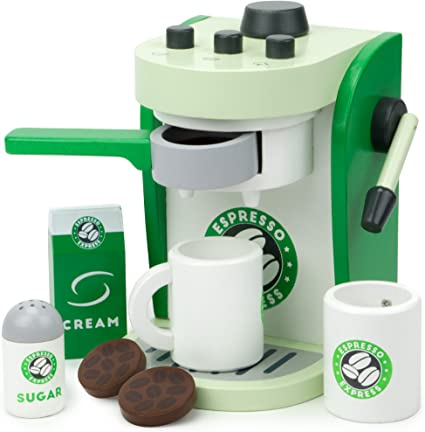 Imagination Generation Espresso Express Coffee Maker Playset, with 2 Cups, 2 Pods, 1 Portafilter, 1 Coffee Maker, Cream & Sugar (8 Pcs)