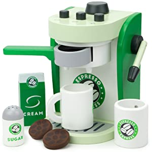 Espresso Express Coffee Maker Playset, with 2 Cups, 2 Pods, 1 Portafilter, 1 Coffee Maker, Cream & Sugar (8 Pcs.) by Imagination Generation