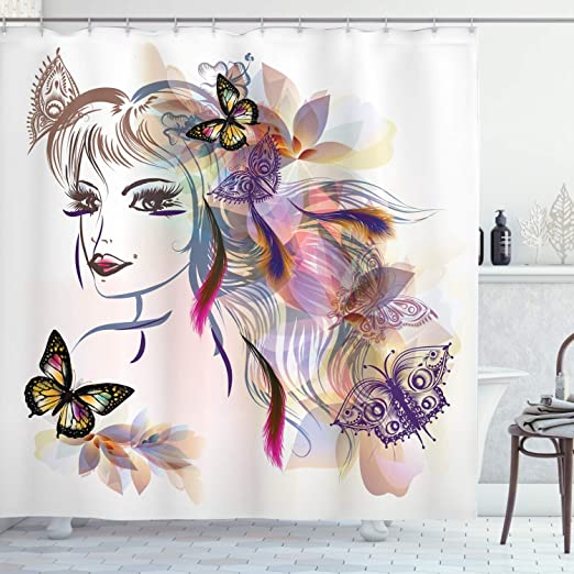 Butterfly Shower Curtain Fairy Woman Eyelashes Print for Bathroom