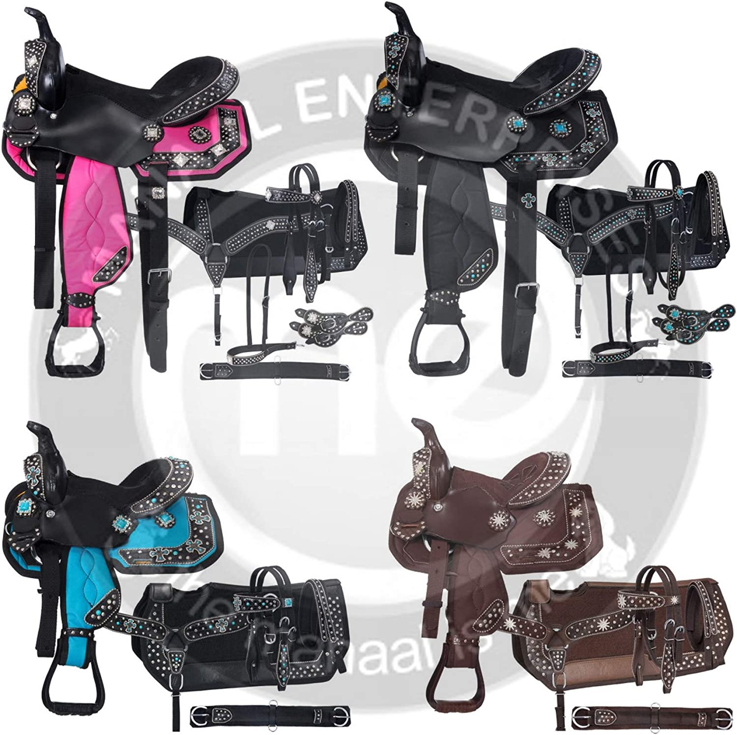 Get Matching Headstall Reins /& Saddle Pad Size 14 to 18 Inches Seat Available ME Enterprises Synthetic Western Adult Horse Saddle Tack Barrel Racing Breast Collar