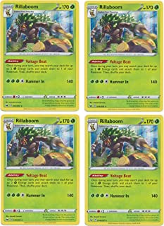 product image for Pokemon Card - Rillaboom - Sword and Shield Base - x4 Card Lot Playset - 014/202 Holo Rare