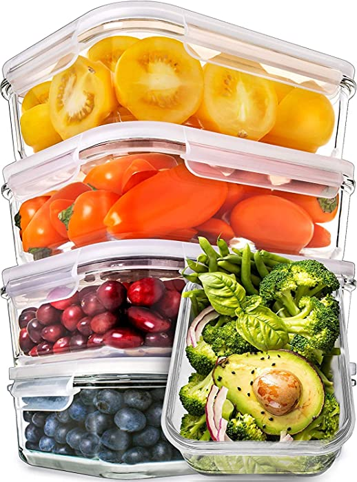 Prep Naturals Glass Meal Prep Containers - Food Prep Containers with Lids Meal Prep - Food Storage Containers Airtight - Lunch Containers Portion Control Containers Bpa-Free (5 Pack, 30 Ounce)