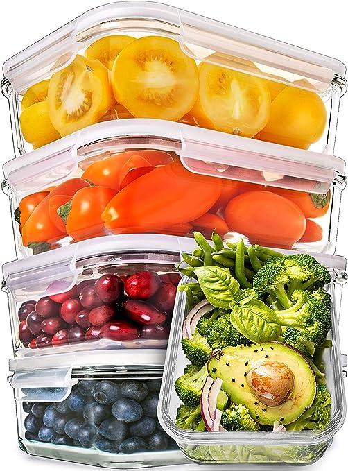 Amazon.com: [Pack de 5] Contenedores de vidrio para comida ...