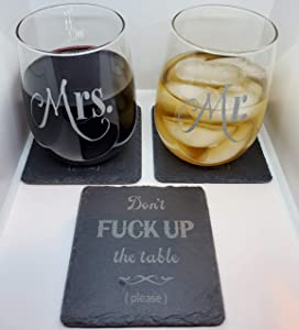 Slate Drink Coasters | Funny Coasters for Drinks | Absorbent Drink Coaster | Housewarming Gifts for New Home, Man Cave Decor
