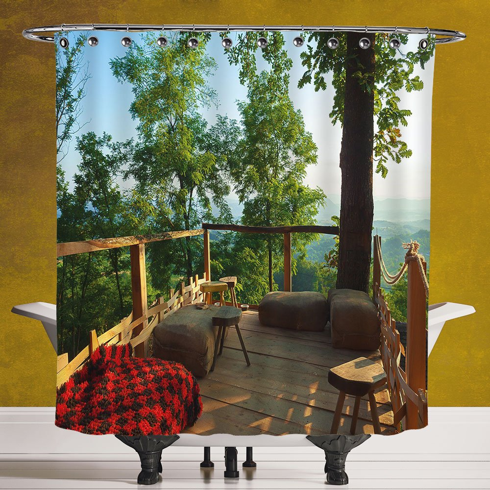 Cool Shower Curtain 3.0 [Country Home Decor,View from Wooden Terrace in Forest with Idyllic Non Urban Outdoors,Green Brown Red] Bathroom Accessories with Hooks