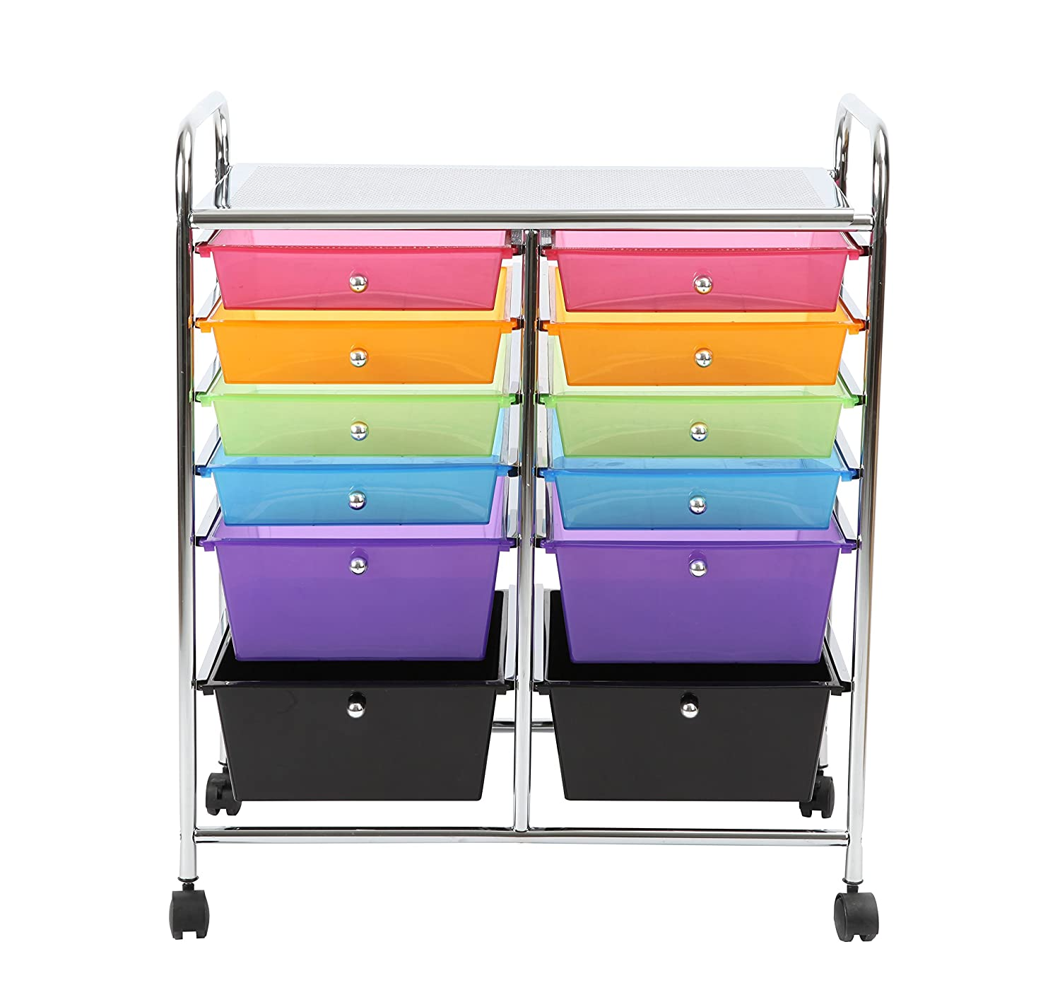 Amazon.com  Finnhomy 12-Drawer Plastic Portable Mobile Organizer Rainbow Multi-Purpose Utility Double Rolling Storage Cart Bright Chrome Metal Frame and ...  sc 1 st  Amazon.com & Amazon.com : Finnhomy 12-Drawer Plastic Portable Mobile Organizer ...