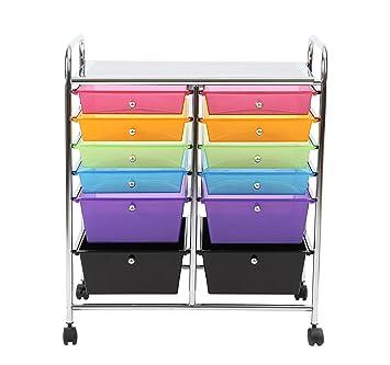 Finnhomy  Drawer Plastic Portable Mobile Organizer Rainbow Multi Purpose Utility Double Rolling